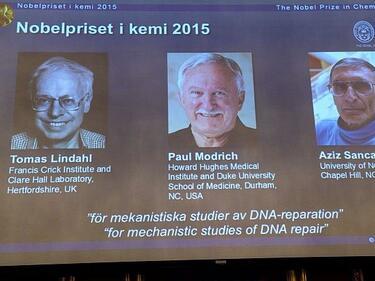 Трима учени с Нобелова награда за химия за изследване на ДНК
