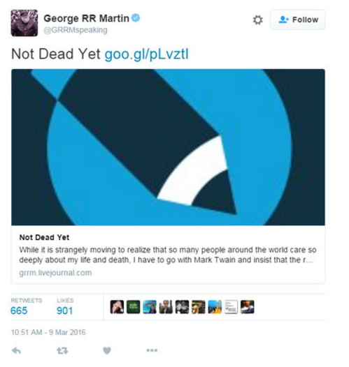 "Фенове ""погребаха"" Джордж Р.Р. Мартин! Той: ""Жив съм"""