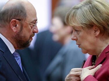 Шулц вече е фаворит за канцлер, подкрепата за Меркел се топи