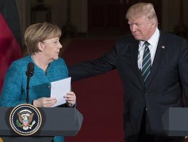 Много гафове на Тръмп и студенина съпътстваха визитата на Меркел (ВИДЕО)