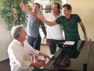 """Музикалното"" трио Гришо, Федерер и Хаас в нов клип с Джокович (ВИДЕО)"