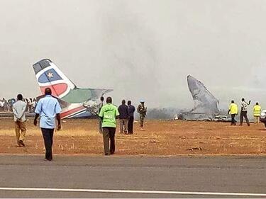 Самолет се разби в Южен Судан