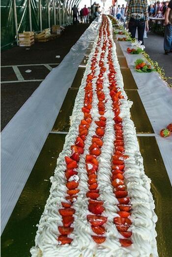 Сладкиш-рекордьор! Най-дългата ягодова торта в света (СНИМКA/ВИДЕО)