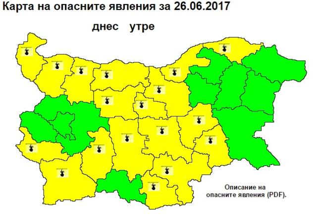 Горещо! Жълт код за жеги в 18 области (КАРТА)