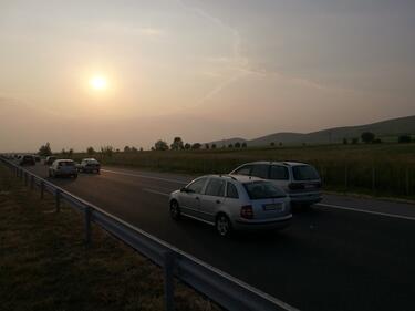 """Катастрофа между камион и кола на """"Тракия"""""""